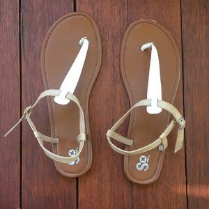 T-Strap White and Brown Sandals